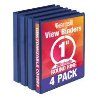 Samsill Economy 3 Ring Binder Organizer, 1 Inch Round Ring Binder, Customizable Clear View Cover, Blue Bulk Binder 4 Pack