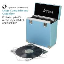 Retround Vintage Retro Vinyl leather Record Holder Case, LP Storage Carrying Case for 78 rpm, 45 rpm, 33 rpm Standard Size Vinyl Records Collections Storage Organizer Display Box-12 inch (Blue)