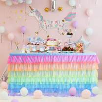 Rainbow Tulle Table Skirt 6ft Unicorn Table Skirt Tutu Table Cloth for Birthday Party Baby Shower Decorations Girl