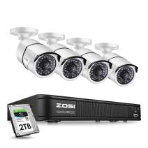 ZOSI 1080p CCTV Camera Security System,8 Channle 4-in-1 Surveillance DVR Recorder with 2TB HDD and 4x1080p Day Night Vision Bullet Camera Outdoor/Indoor , Remote Access and Motion Detection
