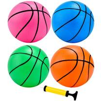 4 Pieces Mini Basketball Inflation Mini Ball with Pump and Basketball Needles (7 Inch)