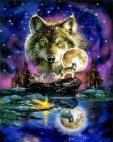 5D Diamond Painting Kit, Full Drill Embroidery Paint with Diamonds Wall Sticker for Home Decor - Wolves 12 x 16inch