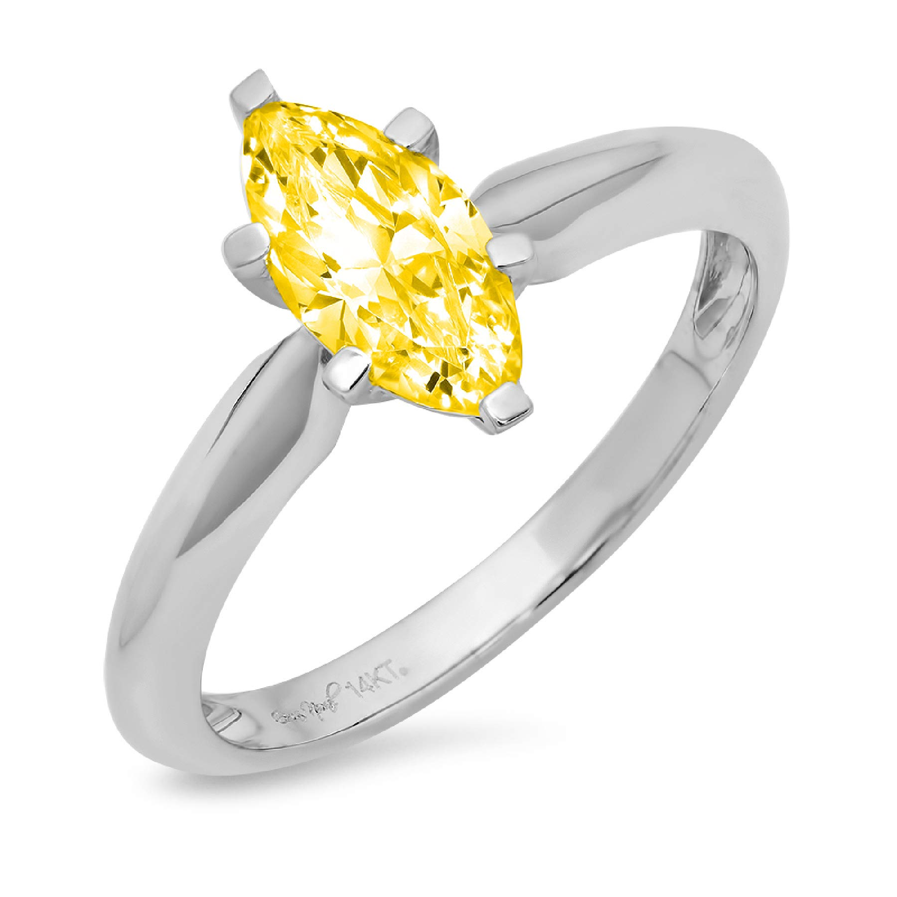 0.95ct Brilliant Marquise Cut Solitaire Canary Yellow Simulated Diamond CZ Ideal VVS1 D 6-Prong Classic Designer Statement Ring Solid Real 14k White Gold for Women