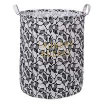 """LINENLUX Clothes and Toys Organizer Waterproof Hamper Foldable Laundry Basket for Storage (Black Leaf, 15.7"""" x 19.7"""")"""