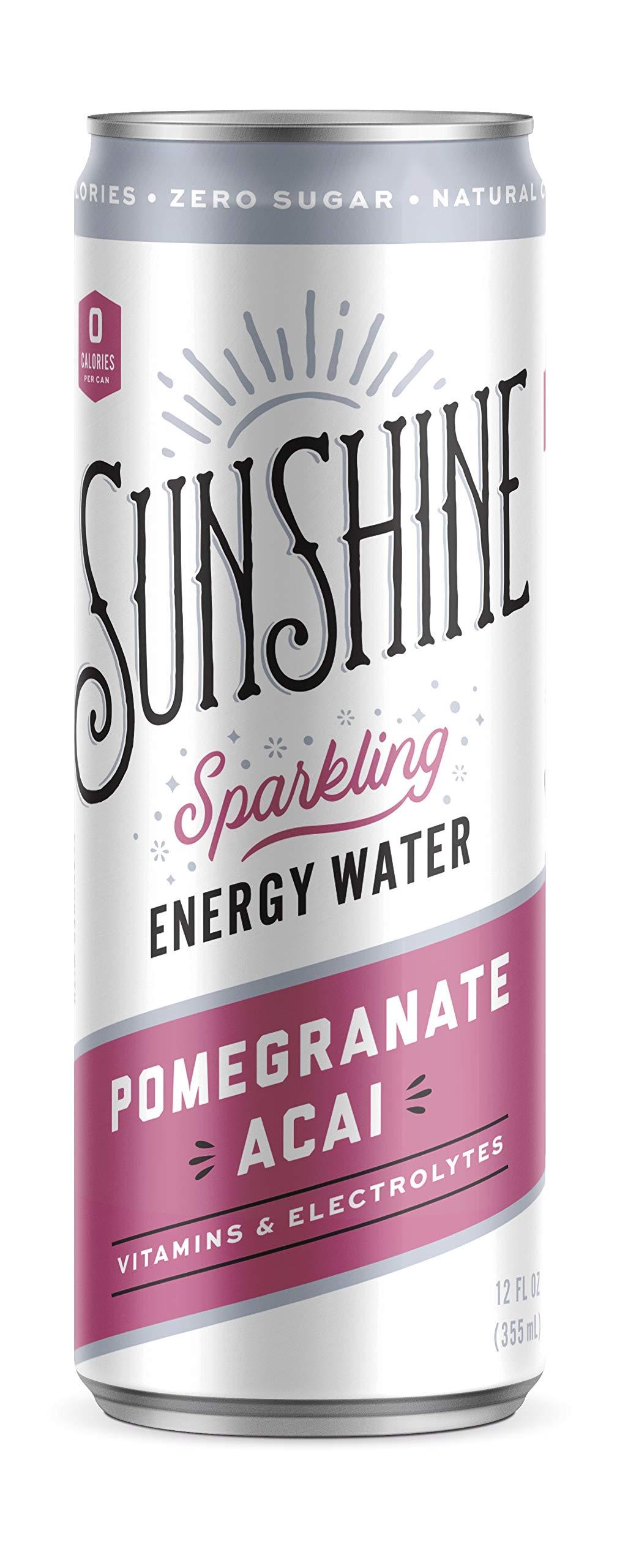 Sunshine Sparkling Energy Waters, Pomegranate Acai, 12 oz (Pack of 12)