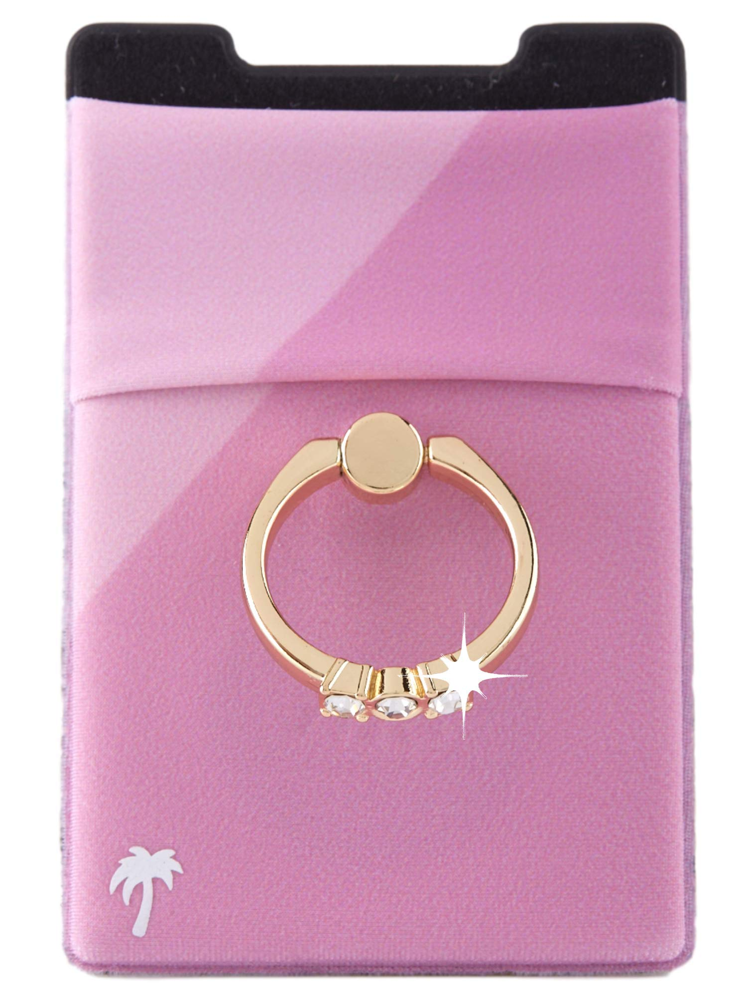 The StickyWallet +Ring –New 4-in-1 Spandex Stick-on Wallet w/ Kickstand Finger Ring – Best Card Holder Sticker for any Phone: iPhone 11 Pro Max XR XS X etc. (Rose 2-Tone w/ Gold Diamond Ring)