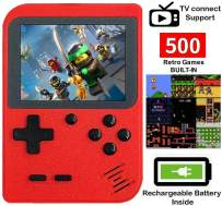 DigitCont Retro Mini Handheld Arcade, Built-in with 500 Classic Games Miniature Console Handheld Portable Game Cabinet Machine Rechargeable Battery Inside Support TV Red