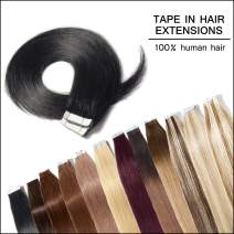 18-20 Inch Tape in Human Hair Extensions 100% Remy Straight Human Hair Professional Seamless Tape Skin Weft Extensions 40pcs 100g/pack Dark Black (18'',#1)+ 20pcs Free Tapes