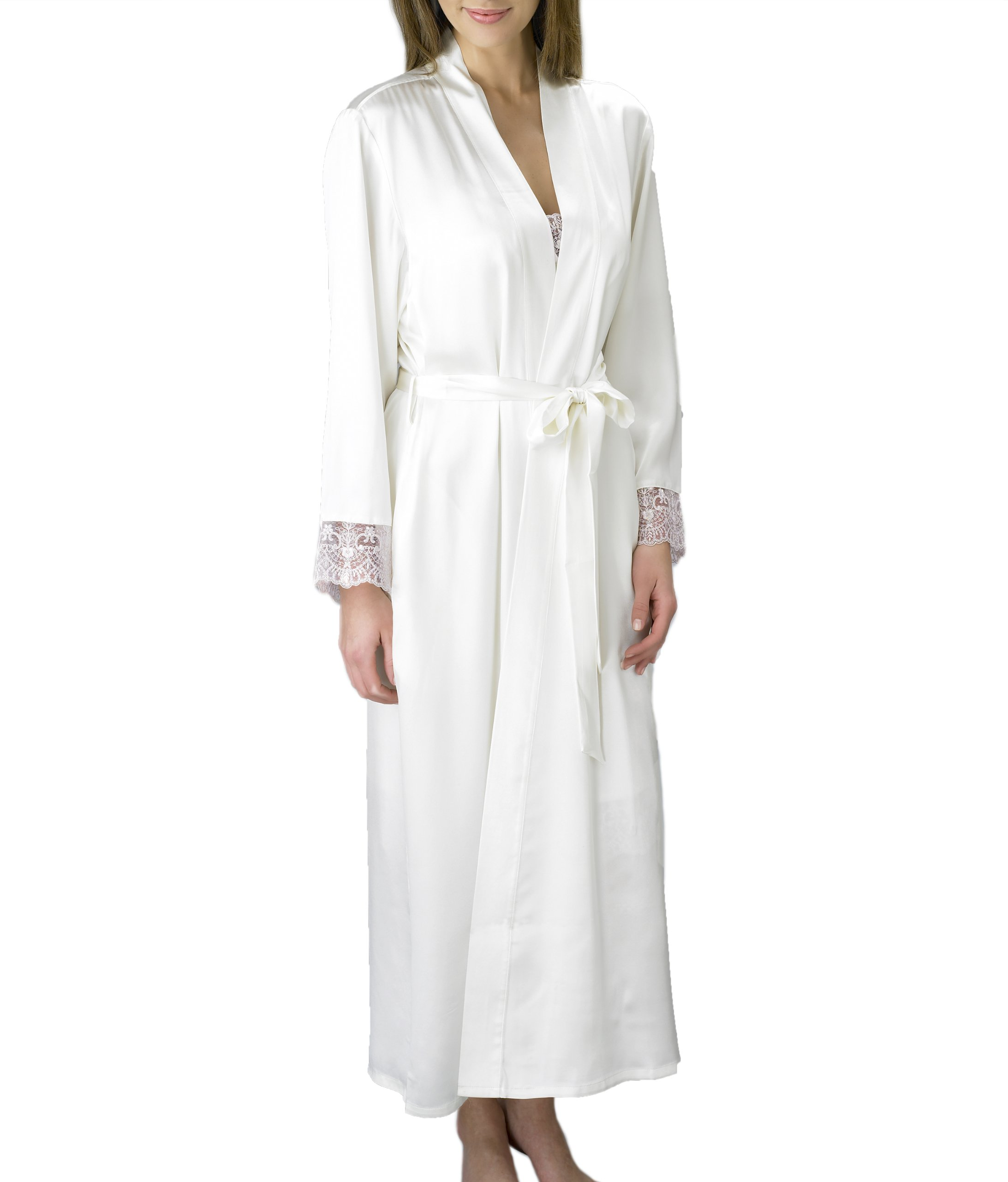 Julianna Rae Women's Silk Robe, Full Length, Lace Trim, 2 Pocket, Le Soir Dream