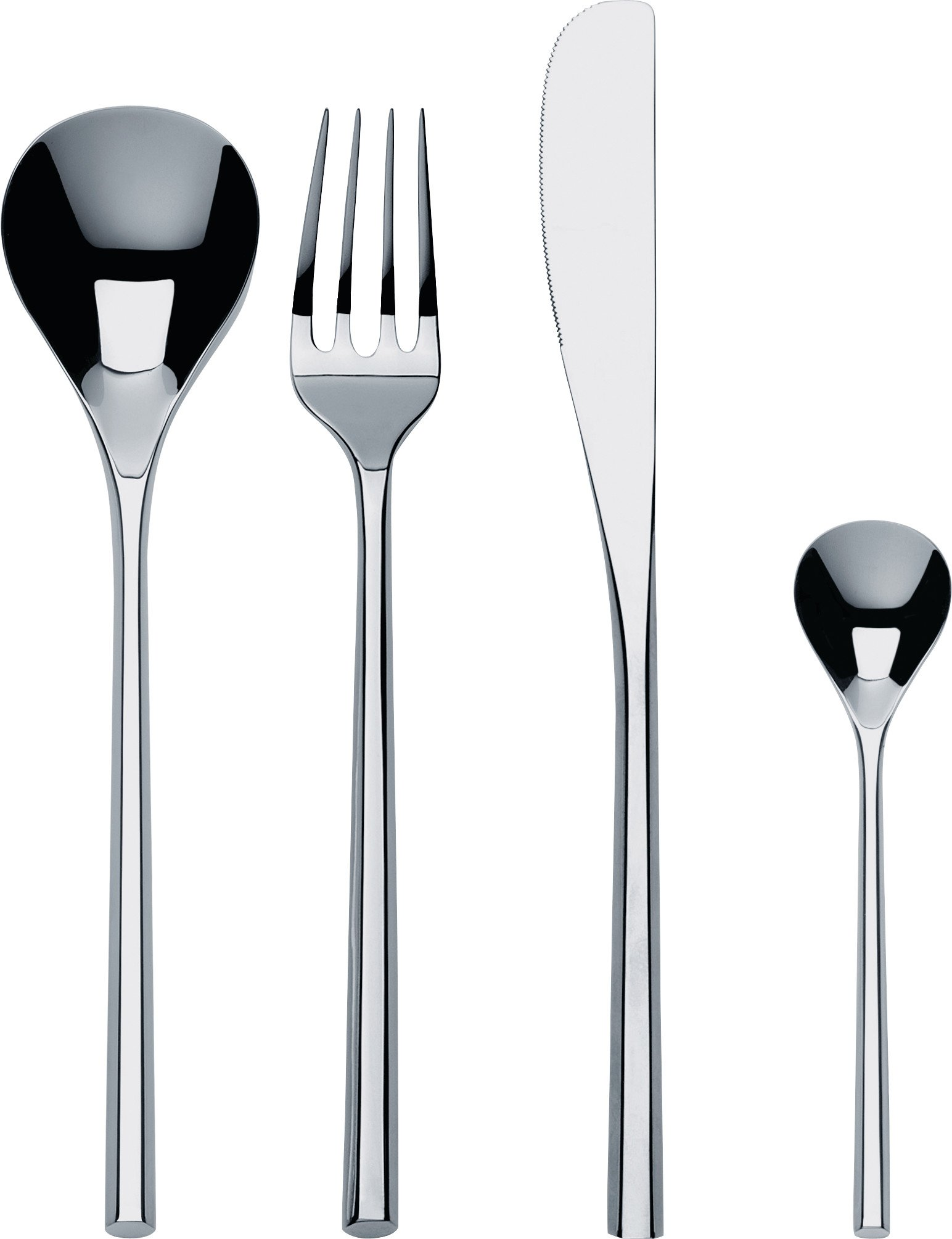 """Alessi""""MU"""" Flatware Set Composed Of Six Table Spoons, Table Forks, Table Knives, Coffee Spoons in 18/10 Stainless Steel Mirror Polished, Silver"""