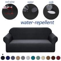 Granbest Premium Water Repellent Sofa Cover High Stretch Couch Slipcover Super Soft Fabric Couch Cover (Black, Loveseat)