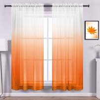 Orange Curtains 84 Inch Length for Living Room Decor Set 2 Panels Rod Pocket Window Drape Sheer Ombre Bright Curtains for Dining Room Kitchen Girls Kids Boys Bedroom 84in Long Burnt Light Orange White
