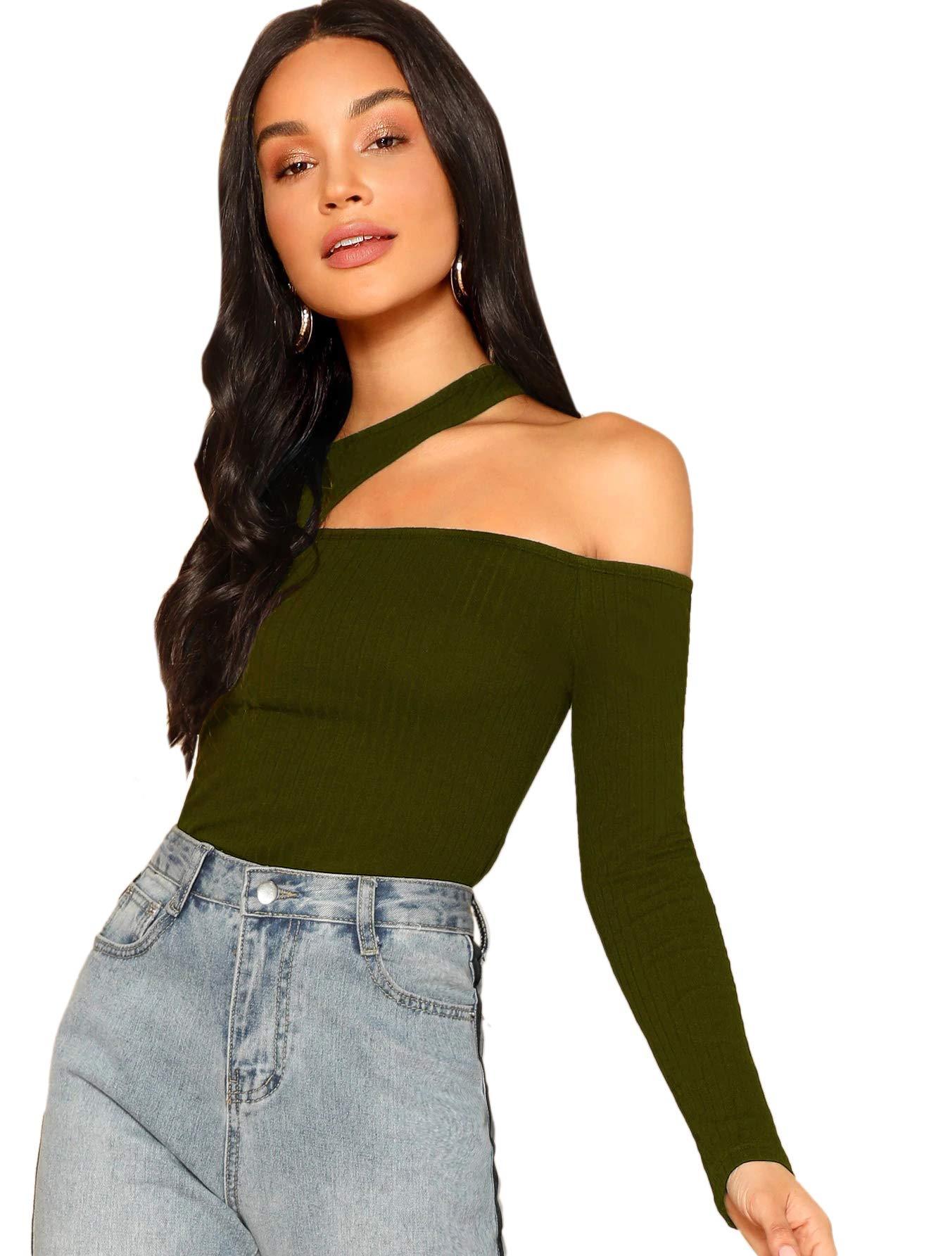 Romwe Women's Sexy Asymmetric Cutout Neck Ribbed Casual T-Shirt Tops
