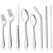 LIANYU 78-Piece Silverware Set with Metal Straws, Stainless Steel Flatware Cutlery Set for 12,Reusable Eating Utensil Tableware Include Knives Spoons Forks, Dishwasher Safe