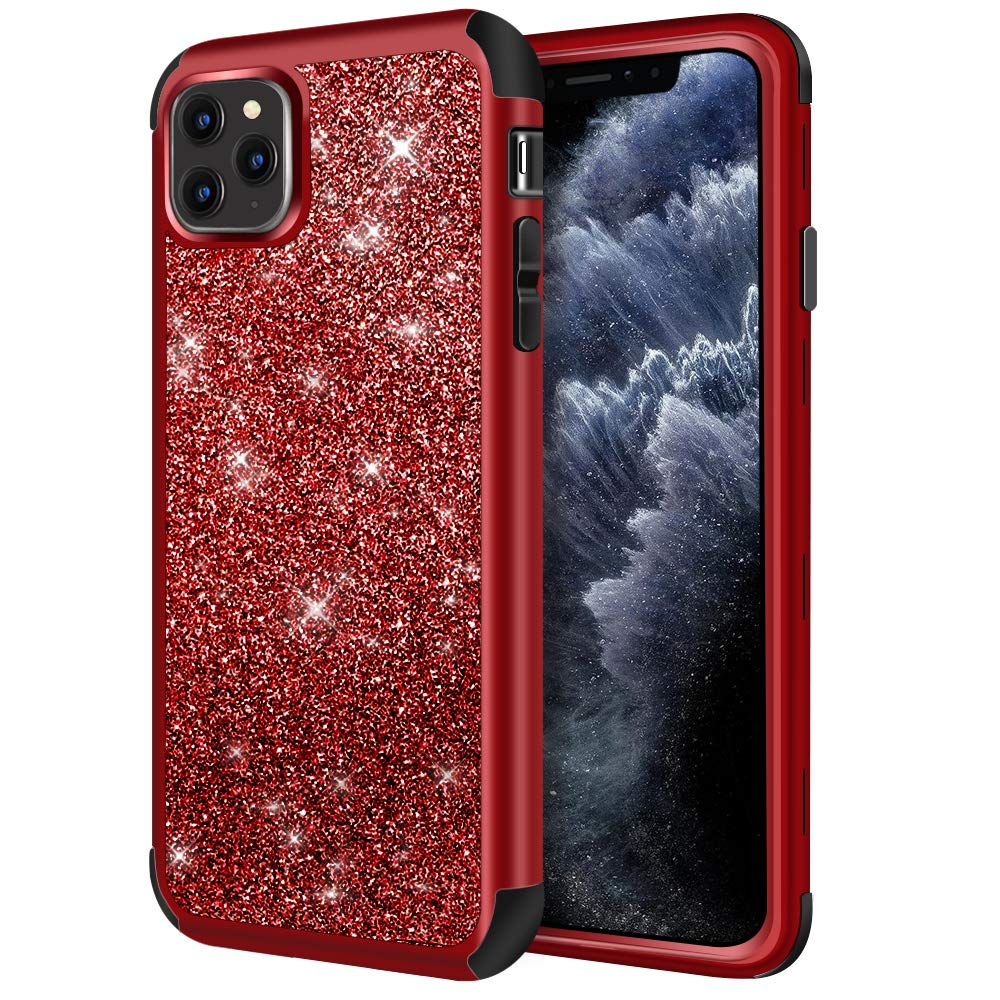 Hython Case for iPhone 11 Pro Max, Heavy Duty Full-Body Defender Protective Case Bling Glitter Sparkle Hard Shell Armor Hybrid Shockproof Rubber Bumper Cover for iPhone 11 Pro Max 2019, Red