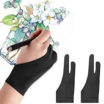 Mixoo Artists Gloves 2 Pack - Palm Rejection Gloves with Two Fingers for Paper Sketching, iPad, Graphics Drawing Tablet, Suitable for Left and Right Hand (Small)
