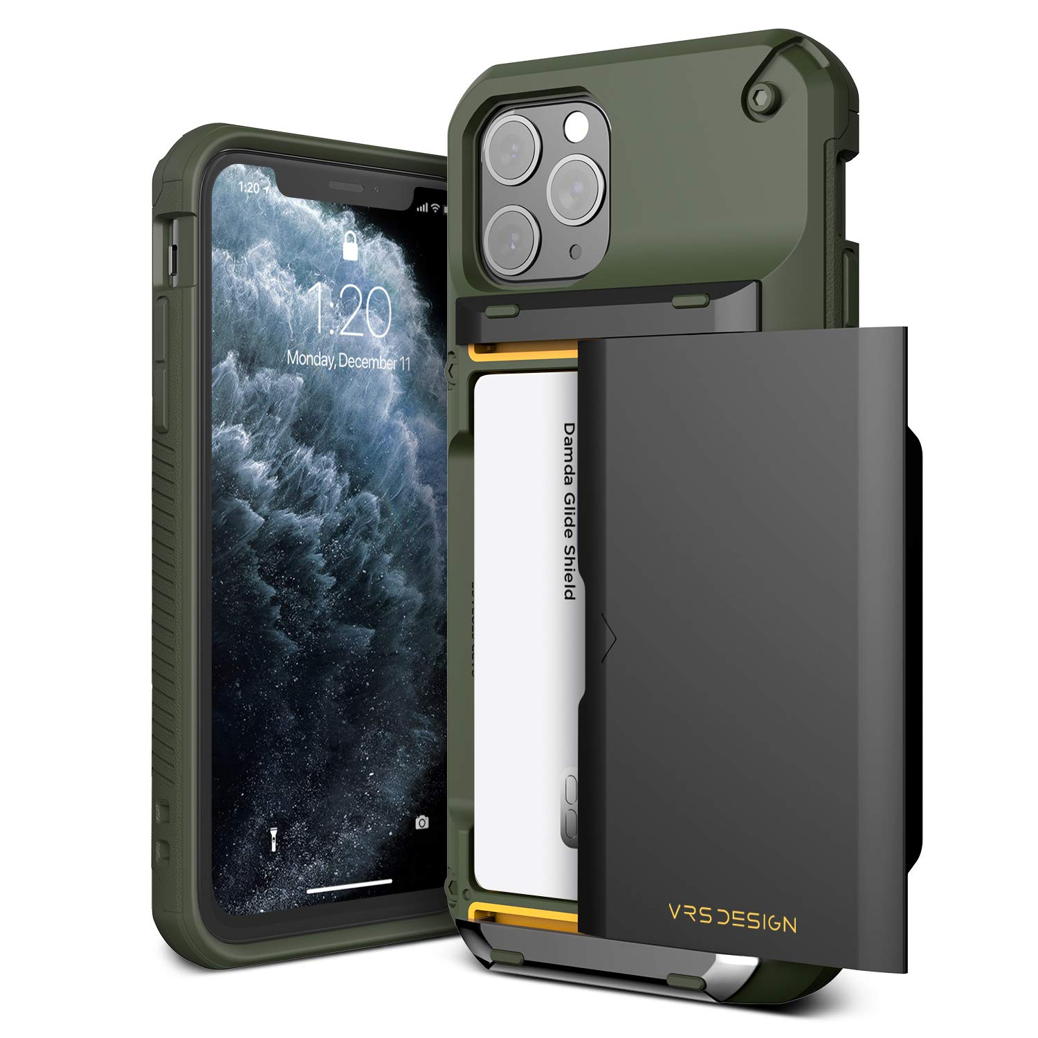 VRS DESIGN Damda Glide Pro Compatible for iPhone 11 Pro Case, with Premium Sturdy Semi Auto Card Wallet for iPhone 11 Pro 5.8 inch(2019) (Green)