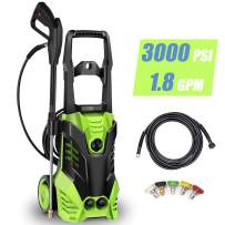 Homdox 3000 PSI 1.80 GPM Electric Pressure Washer 1800W Power Washer Professional Washing Cleaner Machine w/Soap Dispenser, Rolling Wheels, Hose Reel, 5 Nozzles (Green)