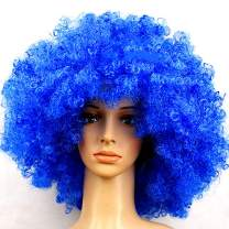 KATCOCO BIG SIZE Blue Hippie Afro Wigs Colorful Afro Wigs Cosplay Party Wigs 200g (Blue)