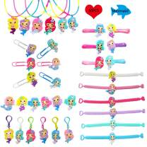 36 PCS Mermaid Party Favors Supplies,Necklaces Bracelets Keychains Rings Bookmarks Hairpins Kids Girls Birthday Mermaid Toys All Ages Parties Keys Bags Decoration