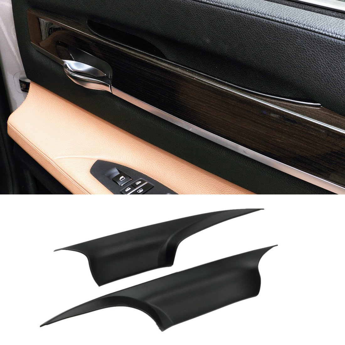 For BMW 7 Series Door Pull Handle Covers,Jaronx Left Front and Right Front Door Handle Carrier Trim Cover Kit (Fits:BMW 730 740 750 760 F01/F02 2008-2014)