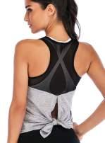 ADOME Women's Women Cute Sexy Yoga Shirts Tie Back Loose Workout Sports Racerback Crop Tank Tops