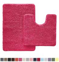 Gorilla Grip Original Shaggy Chenille 2 Piece Area Rug Set Includes Oval U-Shape Contoured Mat for Toilet and 30x20 Bathroom Rugs, Machine Wash Dry, Plush Mats for Tub, Shower, and Bathroom, Hot Pink