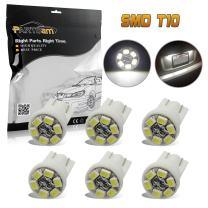 Partsam 6pcs T10 Wedge License Plate Frame Tag Light White 6-SMD LED Bulb 168 194 2825