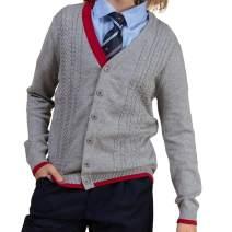 BOBOYOYO Boys Uniform V-Neck Cardigan Sweater Long Sleeves Pullover Sweater 3-12Y