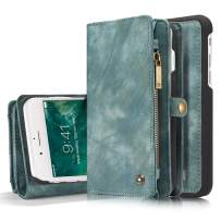 Leather Wallet Magnetic Phone Case Detachable Case with Card Holder Flip Blue Cover for iPhone 11 2019 6.1 inch