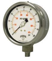 """Winters PFP Series Premium Stainless Steel 304 Dual Scale Liquid Filled Pressure Gauge, 0-1000 psi/kpa, 2-1/2"""" Dial Display, +/-1.5% Accuracy, 1/4"""" NPT Bottom Mount"""
