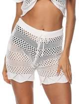 Womens Cover Up Pants Sexy Hollow Out Crochet High Waist Mesh Beach Bikini Swimsuits Pants