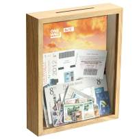 ONE WALL 8x10 Inch Ticket Shadow Box Frame, Natural Wood Color Memory Display Case with Slot/Top Loading for Wall and Tabletop - Mounting Hardware Included
