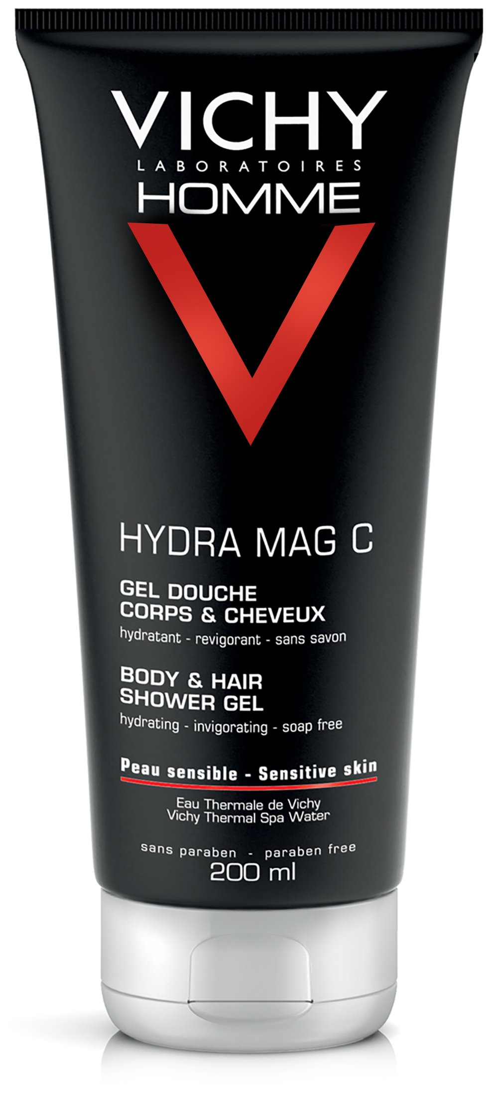 Vichy Homme Anti-Irritation Body Wash for Men with Pure Vitamin C & Salicylic Acid to Soothe & Hydrate Skin, Suitable for Sensitive Skin