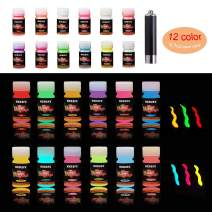 HXDZFX Glow in The Dark Paint UV Paint(Set of 12 Bottles 20g. Each) Safe Non-Toxic for Slime,Nails,Epoxy Resin,Acrylic Paint,Halloween,Fine Art and DIY Crafts