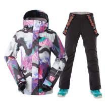 Women Ski Jacket Pants Snowboarding Windproof for Winter Sports