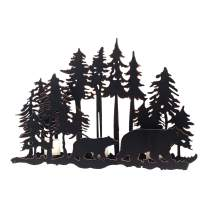 Adeco Decorative Iron Vertical Table Standing Candle Pillar Holder Black Metal Bear and Tree Candle Holder Vintage Antique Christmas Candle Holder (Bear)