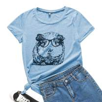 TrendiMax Guinea Pig Tee Shirt for Women Summer Womens Cute Short Sleeve Casual Graphic Tunic Tops