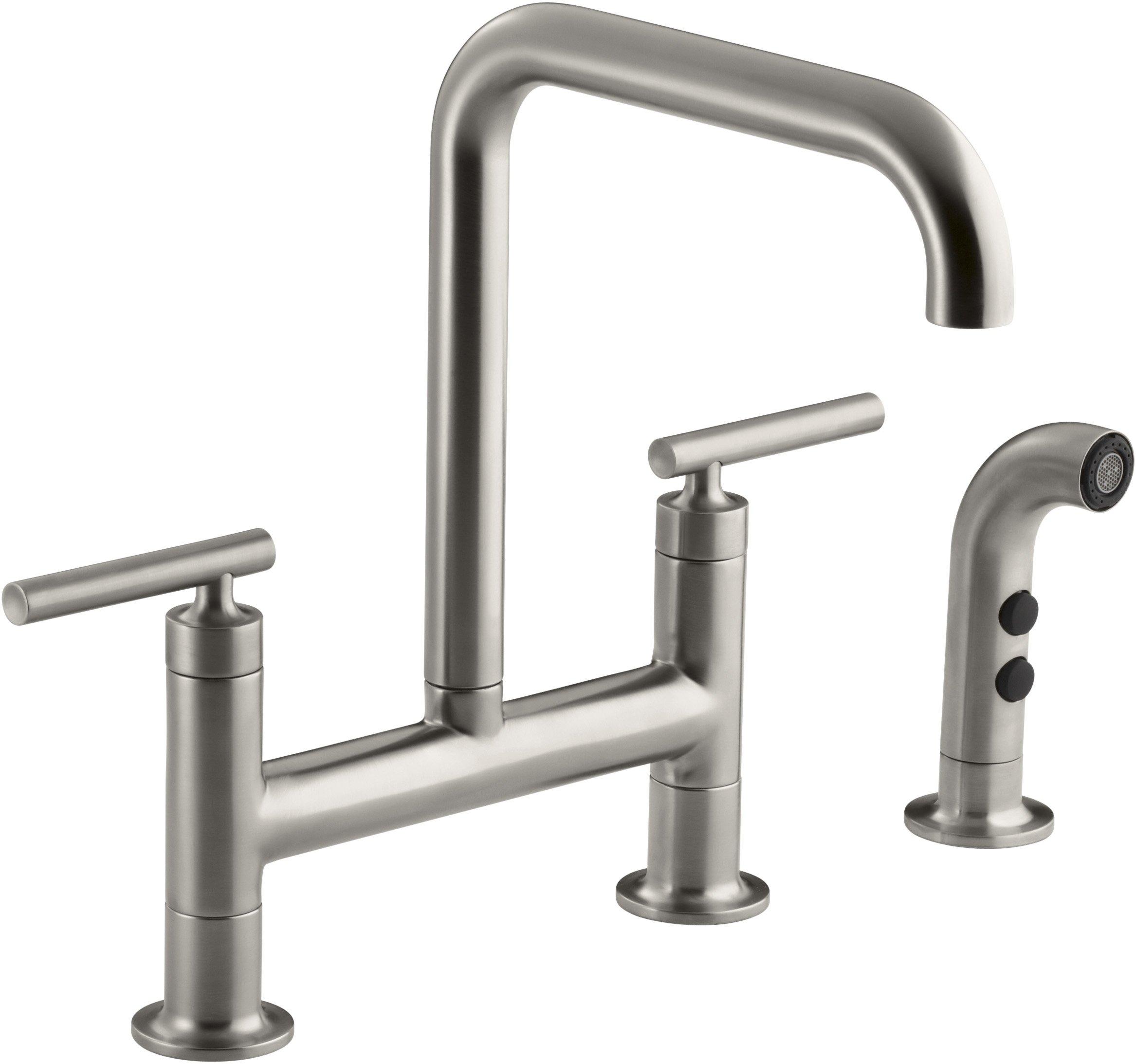 KOHLER K-7548-4-VS Purist Deck-Mount Bridge Faucet with Sidespray, Vibrant Stainless