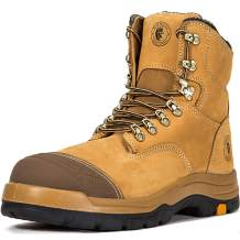 ROCKROOSTER Work Boots for Men, Steel Toe, 8 inch Safety Leather Shoes, Slip Resistant Industrial Boot, Static Dissipative, Breathable, Quick Dry, Anti-Fatigue, AK232