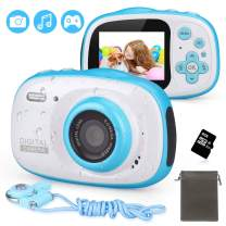 LDF Kids Camera Underwater Digital Camera Dual 8MP HD 1080P IP68 Waterproof with 2.0inch IPS Screen 8X Digital Zoom and 8GB Memory Rechargeable Front and Rear Selfie Video Camera for Children