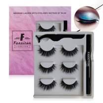 False Eyelashes with Eyeliner Kit, FANXITON 3 Pairs Full Faux Mink Eyelashes with Eyeliner - Extra Strong Hold for Lashes - No Magnet and No Glue Needed