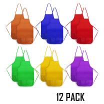 Senfhome 12 Pack Children Painting Aprons Assorted Colors Children's Art Smock & Non-Woven Fabric Aprons for Kitchen, Classroom, Painting Activity.