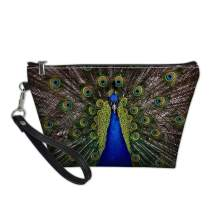Dellukee Portable Travel Cosmetic Organizer for Women Cute Peacock Print Roomy Zipper Closure Toiletry Pouch Travel Makeup Bag Purse