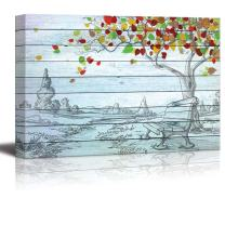 wall26 - Sketch of a Park with a Bench Sitting Under a Tree with Colorful Leaves Over Blue Wood Panels - Canvas Art Home Decor - 24x36 inches