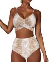 MOOSLOVER Women Leopard High Waisted Bikini Criss Cross Push Up Two Piece Swimsuits