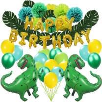Zooawa Happy Birthday Decoration Set, [63 PCS] Cartoon Dinosaur Jungle Jurassic Garland Supplies Decorations Favor Gift for Kids Birthday Party - Green