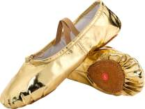 JOINFREE Girl's Women's Leather Ballet Flats Slippers Dancing Shoes with No-Slip Soles Gold 4.5 B(M) US Women