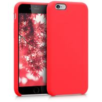kwmobile TPU Silicone Case Compatible with Apple iPhone 6 / 6S - Soft Flexible Rubber Protective Cover - Neon Red