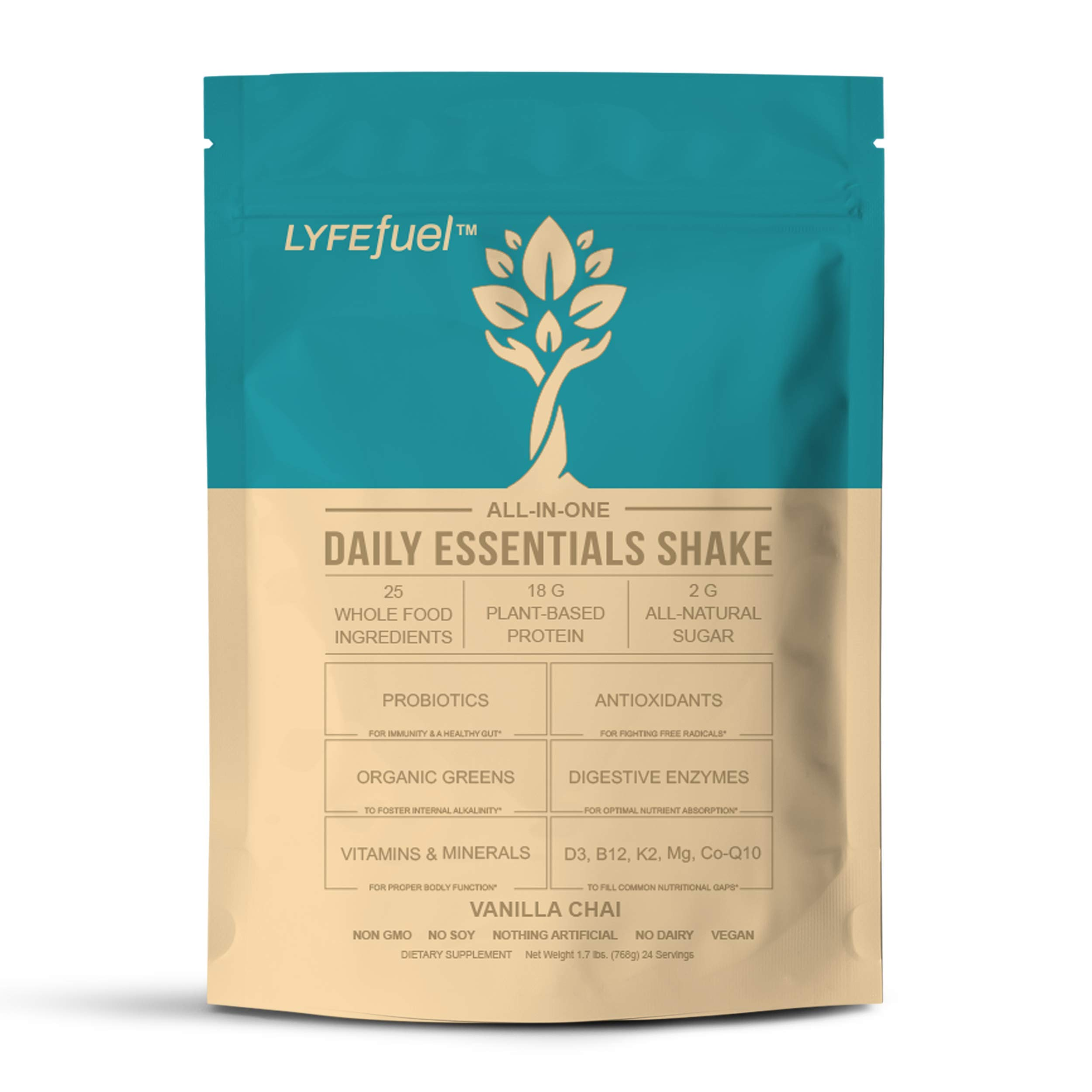 Essential Meal Replacement Shakes by LYFE Fuel   All-in-One Low Carb Keto Superfood Powder for Weight Loss and Optimal Nutrition   Plant Protein, Organic Greens, Vitamins, Minerals   24 Vanilla Meals
